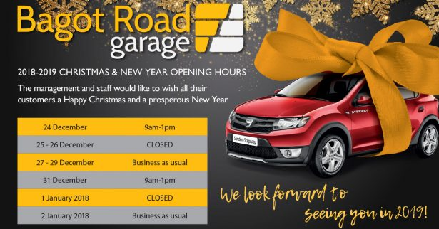 Bagot Road Opening TImes Chrsitmas and New Year 2018-2019